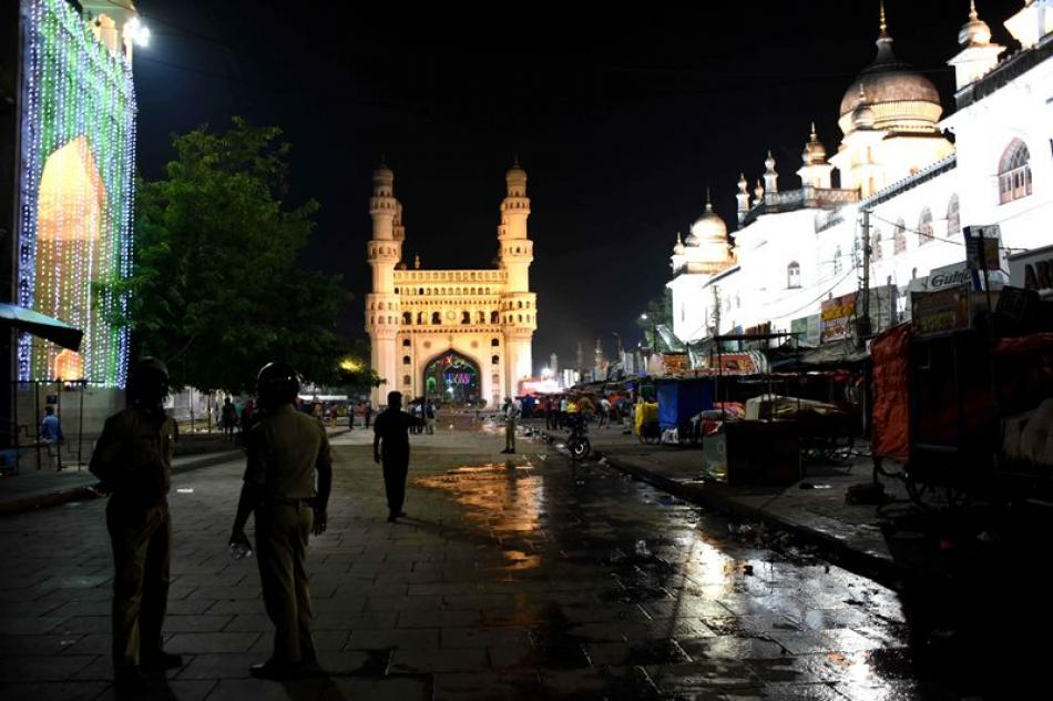 A deserted view of Charminar during night curfew i ...