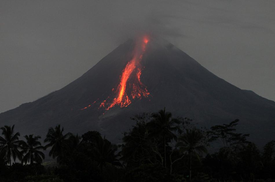 Volcanic materials spewing from Mount Merapi