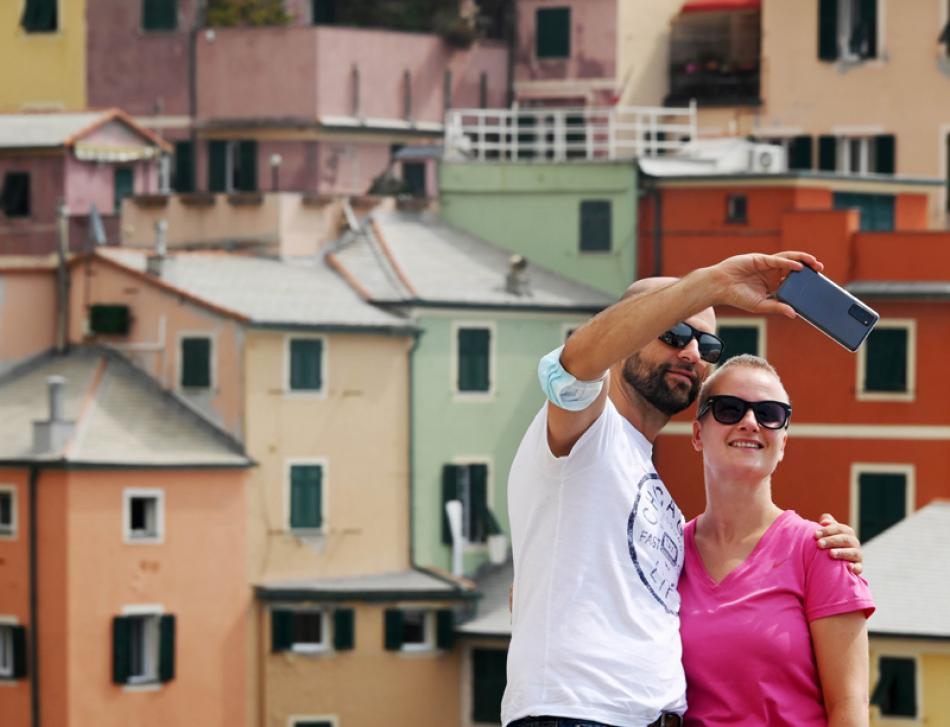 A couple take selfie in Italy