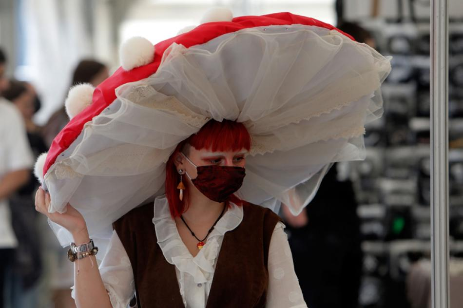An enthusiast poses during East European Comic Con ...