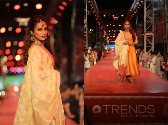 Tollywood actress Mimi Chakraborty walks down the longest ramp in India