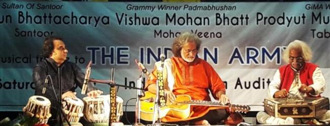 Vishwa Mohan Bhatt and Tarun Bhattacharya join to pay tributes to India Armed Forces in Kolkata