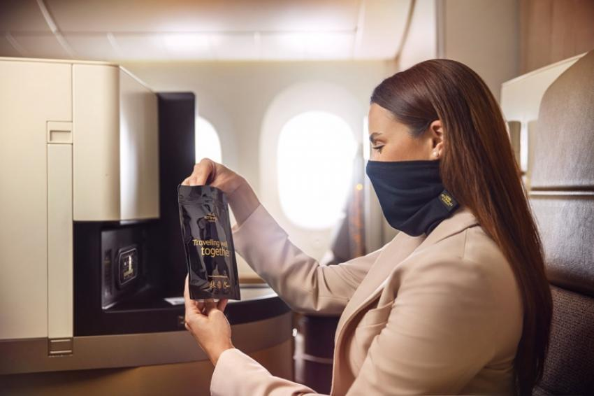 Etihad Airways offering snood style facemasks to premium class passengers for comfort